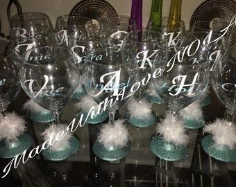Monogram Wine Glasses, Custom Drinking Glasses