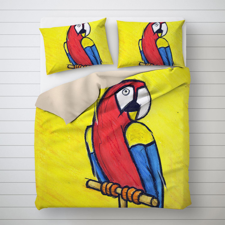Parrot Duvet Cover Kids Bed Linen Dorm Decoration Home