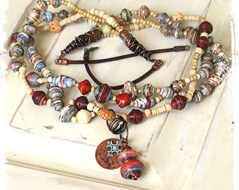 Multi Strand Tribal Statement Necklace with Pendants Boho Hippie Art Bead Mixed Media Unique Anniversary Gift for Wife Art to Wear OOAK