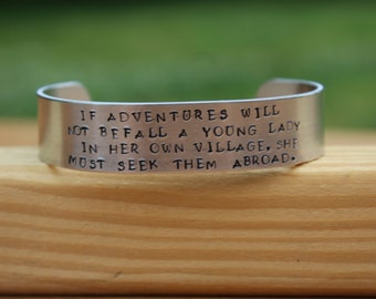 """Jane Austen - Northanger Abbey Quote Bracelet - """"If adventures will not befall a young lady in her own..."""" - metal stamped cuff bracelet"""