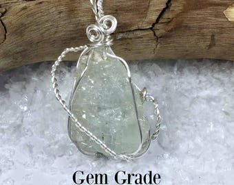 60% OFF Unique/Large Gem Grade Raw Aquamarine Wire Wrapped Crystal Healing Necklace Archangel Gabriel, Mothers, Protection, Guidance #317