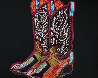 """Dot Pointillism, Acrylic Cowboy Boots 12"""" square, black canvas paper, dot  pointillism art, dot pointillism original work, brown, red, geen"""