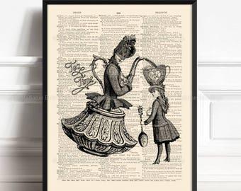 White Rabbit Alice, Alice Lover Gift, Alice Decorations, Alice Tea Time Party, Anniversary Gifts, Mom Art Gift, Nursery Print Alice, Fun 139