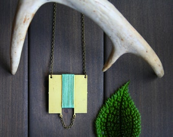 Long geometric necklace gold square pendant necklaces for women minimalist necklace brass jewelry green necklace modern - Sonja Necklace