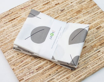 Large Cloth Napkins - Set of 4 - (N4374) - Gray Leaves Modern Reusable Fabric Napkins