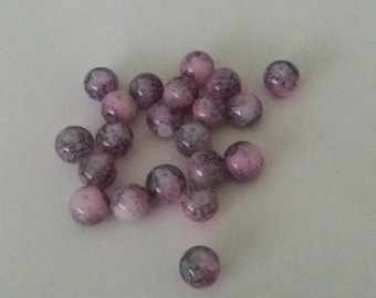 Set of 10 pink /violet mottled beads 10 mm in diameter