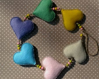 Handmade Felt Hanging Heart Garland - Spring
