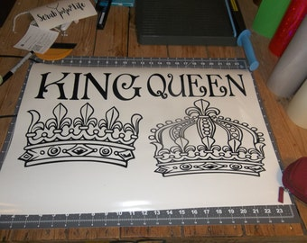 King and Queen with Crowns sticker decal
