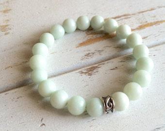 Genuine Amazonite Bracelet, 4mm Amazonite, 6mm Amazonite, 8mm Amazonite, Good Fortune Bracelet, Good Luck Bracelet, Gemstone Bracelet