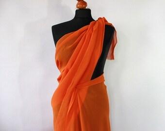 Chiffon fabric, unused vintage, orange