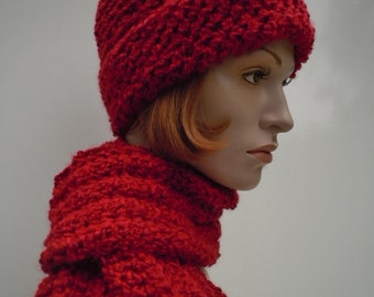 Crimson Red Hat and Scarf, Candy Apple Red Hat, Bright Red Hat Scarf set, Crochet Hat and Scarf