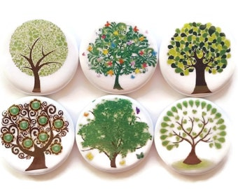 Trees Magnets Green Trees Fridge Magnets Nature Spring Decor Refrigerator Magnets Decorative Country Home Farmhouse Decor Magnets, 6/Set