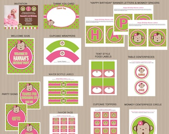 Mod Monkey Birthday Party Printables, Printable Mod Monkey Decorations, Polka Dots, Pink, Green, Invitation Included, Printable PDFs