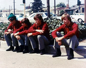 Classic 1960s The Monkees Sitting on The Curb  Color Photograph— More Celebrity Photos available Too