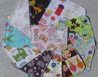 Set of 20 girls pattern prints, reusable cloth napkins, baby wipes, lunch napkins, unpaper napkins