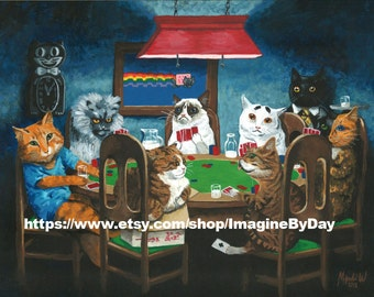 9x12 Grumpy Cat, internet cats playing poker