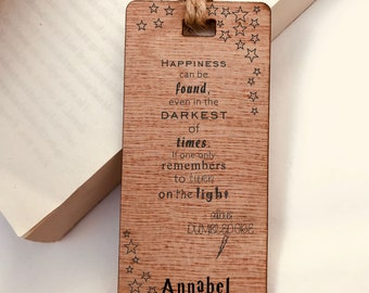 Wooden Bookmark, Harry Potter Dumbledore Quote - Personalised, Engraved, Family Gift, Reader, Custom, Birthday, Christmas, Vintage, Rustic