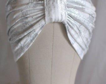White and Metallic Silver Splatter Turban Hat or Turban Headband
