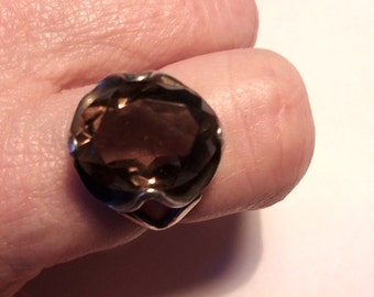 Vintage 1970s Smoky Quartz Sterling Ring 8-9
