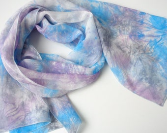 pink blue scarf large silk scarf blue and pink scarf hand dyed silk scarf handapinted scarf ladies silk scarf