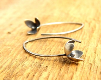 Flower earrings, sterling silver lilac earrings, hand-cut blossoms, shiny or oxidized finish.