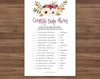 Celebrity Baby Names / Fall Baby Shower Game / Baby Girl Shower Game / Watercolor Floral Baby Shower Game / INSTANT DOWNLOAD