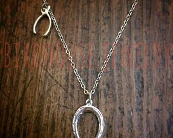 Vogelhaus-Schmuck - Silber doppelt Glück Halskette Hufeisen Wishbone