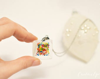Food Necklace, Sprinkle Resin Necklace, Resin Epoxy, Multi Colored Necklace, Candy Necklace, Resin Pendant, Candy Jewelry, Rainbow Necklace