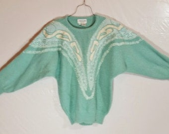 Teal Sweater 80s Vintage Womens Size S IT901