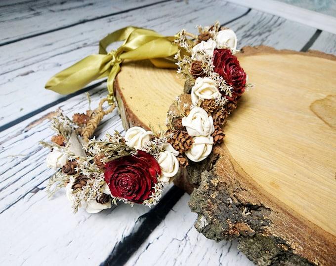 Dried flower CROWN / WREATH burgundy cedar rose ivory sola flowers tiny cones rustic wedding gold ribbon Flower girl Bride fall autumn