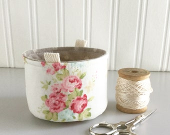 Small Fabric Bucket Pink and White Floral Print Bag Fabric Bag Floral Print