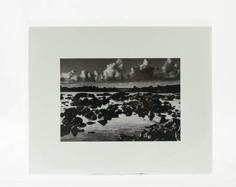 "5"" x 7"" Image Matted Sharks Cove, Hawaii Black and White"
