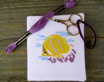 Cross stitch needlebook on pale lilac evenweave and yellow patterned fabric lining - Rainfords Butterflyfish.