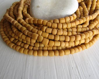 Sand orange glass seed bead, matte barrel tube, small rustic ethnic spacer , indonesian 3 to 6mm, new indo-pacific (22 inches)7ab29-5