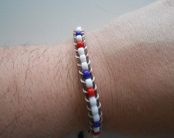 Beaded Wrap Bracelet Red White and Blue Patriotic USA Clearance