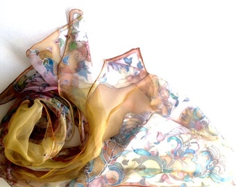 Woman silk scarf - hand painted silk scarf - scarves collection by silkstory -  floral pastel silk scarf - earth tones scarf