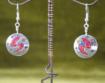 Enamel Earrings: media Champ, silver, red colors