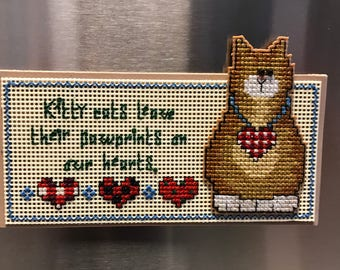 Kitty Cats Leave Pawprints on our Hearts Cross Stitch Magnet