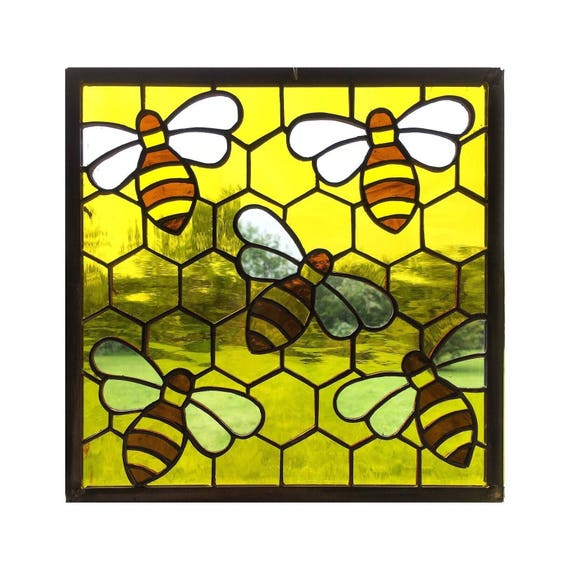 Handmade Stained Glass Honey Bee On Honey Comb Panel, Window, Tiffany  Technique, Made To Order From MadeByAliceGlass On Etsy Studio