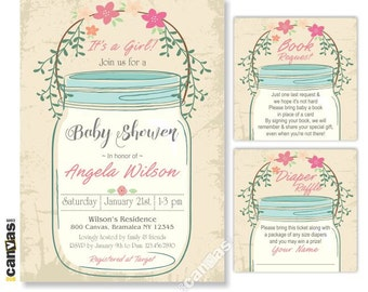 Vintage Mason Jar Baby Shower Invitation Its A Girl Rustic Invite Shabby Chic Floral