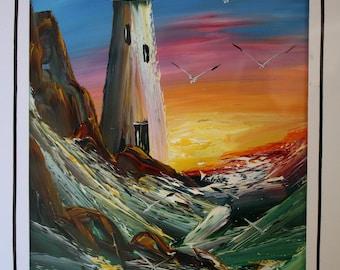 San Diego Point Loma Light House Oil Painting