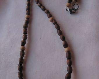 Earthy  Boho  Tiny Wooden Bead Necklace