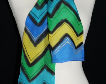 Silk Scarf Hand Dyed. Teal, Blue and Yellow Hand Painted Silk Shawl. Handmade Silk Scarf SUMMER CHEVRON. 8x54. Mother Gift, Anniversary Gift