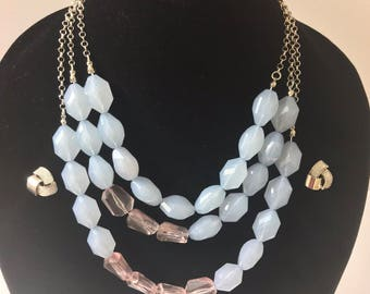 Blue & clear translucent beaded multilayered necklace with matching sparkly silver earrings. Beaded necklace set.Blue beads necklace