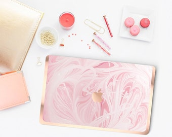 Macbook Pro 13 Case . Pink Marble Swirl . Macbook Air Case . Laptop Case . Macbook Case . Rose Gold Chrome . Hard Case - Platinum Edition