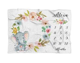 Milestone Blanket Girl Elephant Milestone Blanket Girl Month Baby Blanket Baby Photography Custom Growth Chart Blanket Personalize Gift