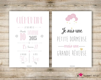 Set of 2 custom birth poster - girl - A4 - personalised birthday gift