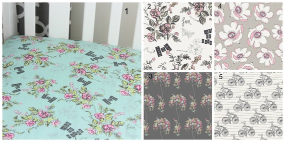Floral Cotton Crib Sheet French Theme Joie De Vivre Changing Pad Cover Baby Crib French Crib Nursery Roses Aqua Gray Bicycle Crib Sheet Pink