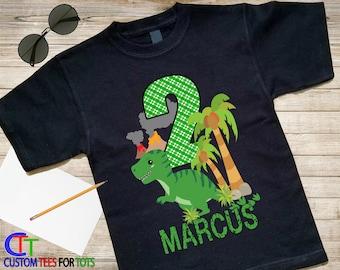Dinosaur Birthday Shirt - Black Dino Birthday Shirt, Personalized Birthday shirt, Green Dinosaur Birthday Shirt, Custom Birthday Party Shirt