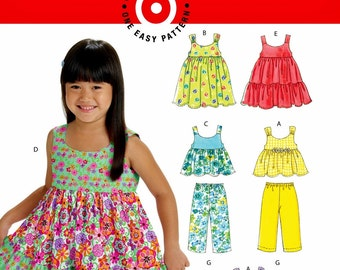 Little Girls' Sundress Pattern, Girls' Suntop and Shorts Pattern, Girls' Pants Pattern, McCall's Sewing Pattern 6017